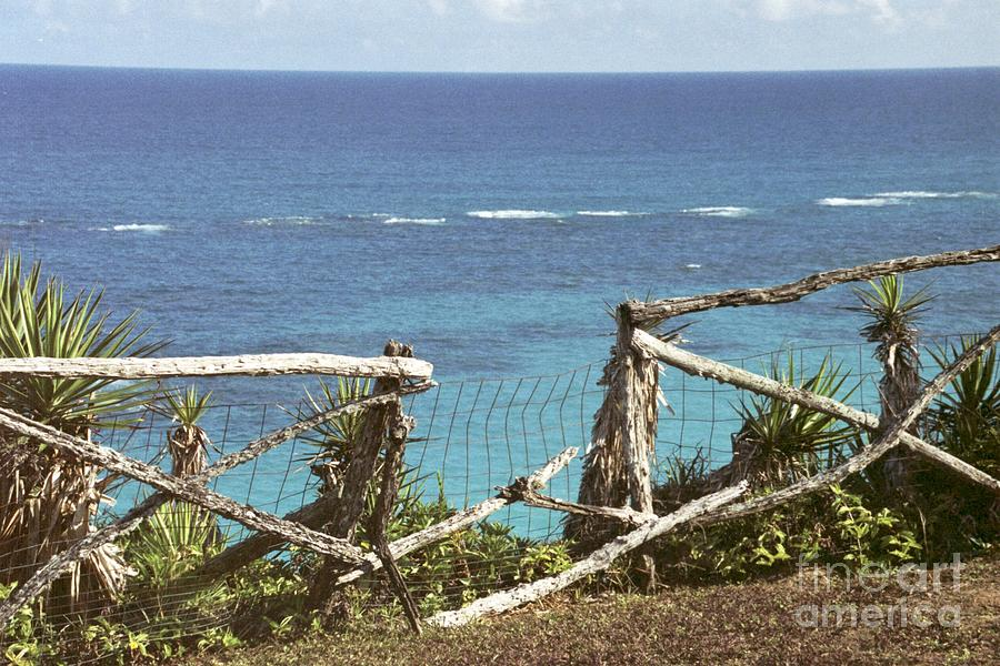Bermuda Photograph - Bermuda Fence And Ocean Overlook by Heather Kirk