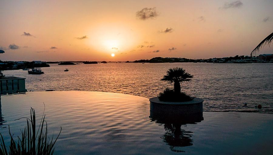 Sunset Photograph - Bermuda Sunset over Infinity Pool  by Stephen Lavoie