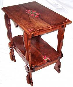 Bernadette Original Solid Cherry Original Table With Roses Drawing by Marla Gebhardt