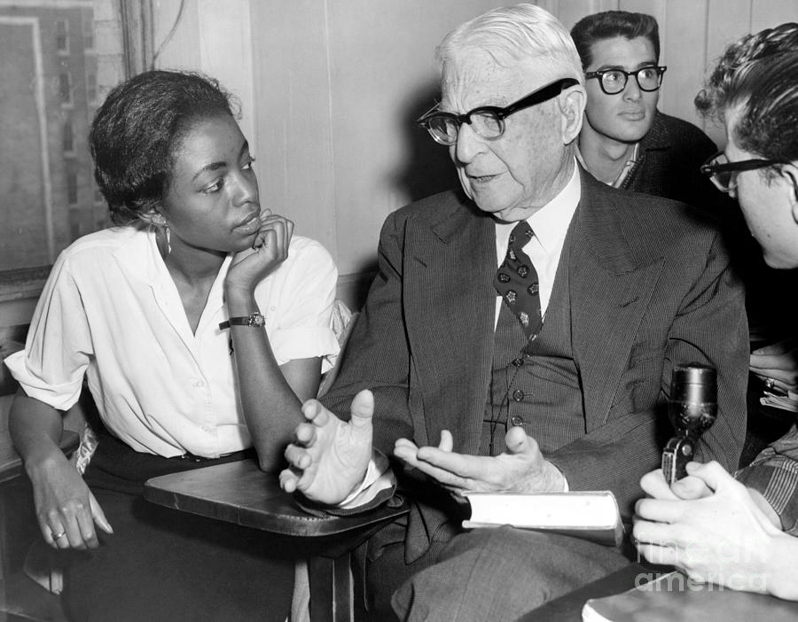 Bernard Baruch confers with Shirley Baruch. 1958 Photograph by William  Jacobellis