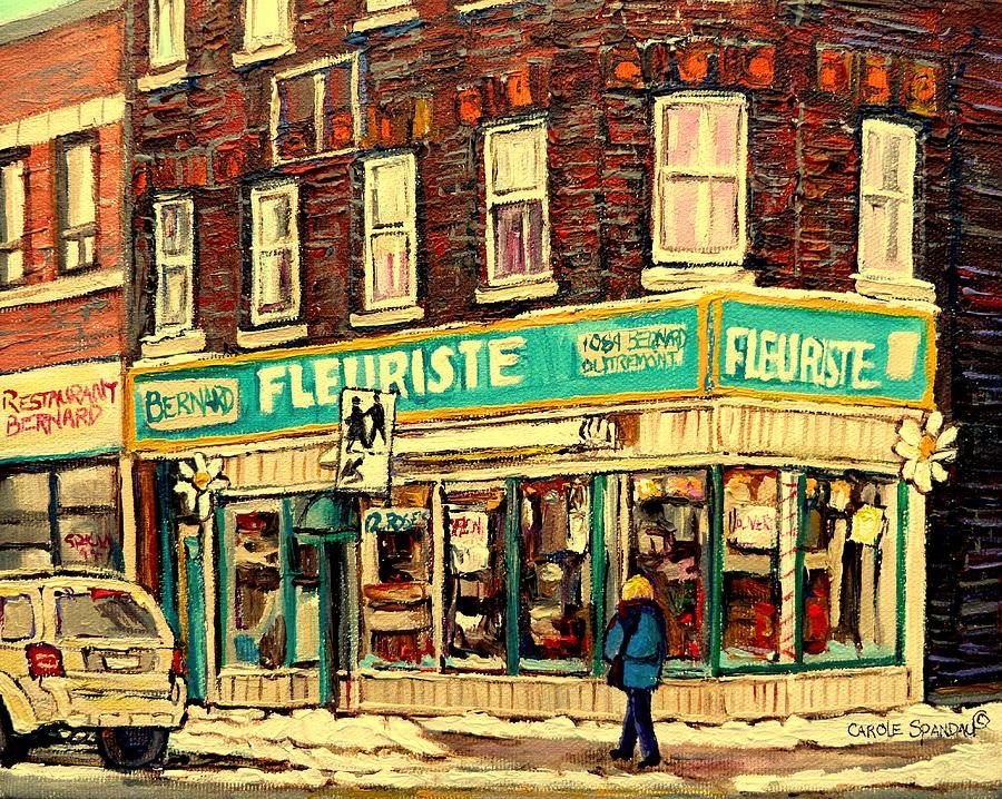 Montreal Painting - Bernard Florist by Carole Spandau