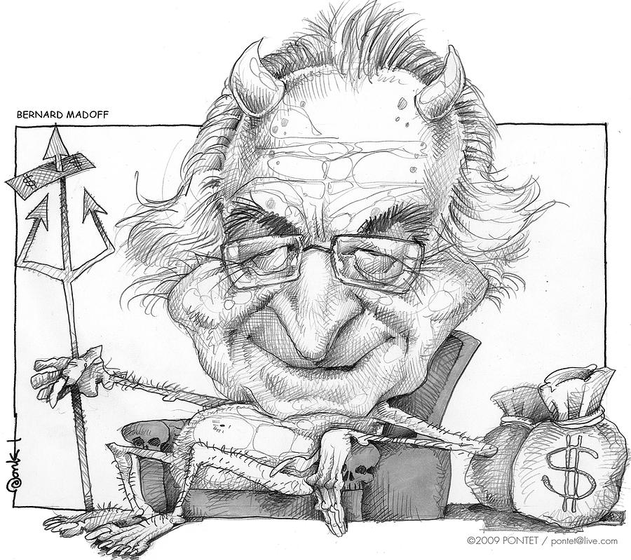 People Drawing - Bernard Madoff by Caricatures By PONTET