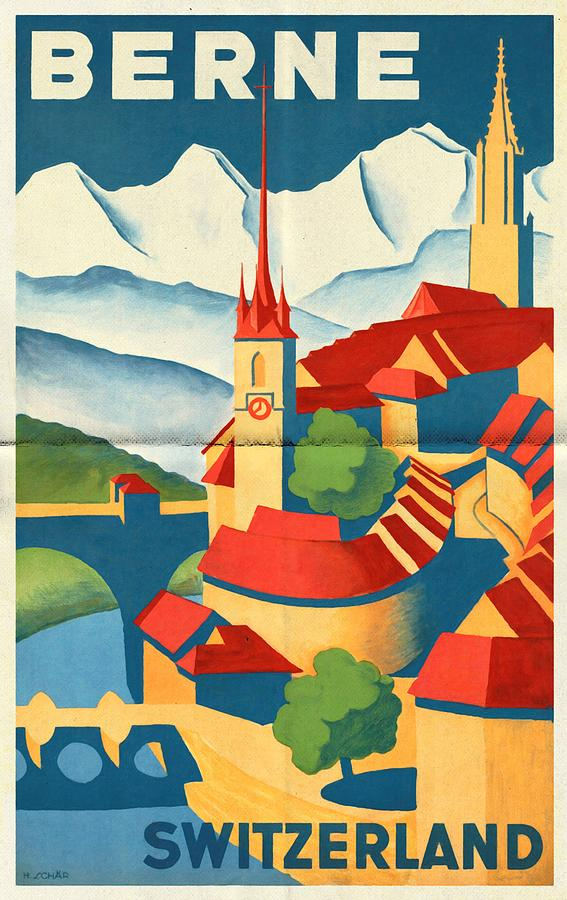 Vintage Poster Mixed Media - Berne Switzerland - Folded by Vintage Advertising Posters