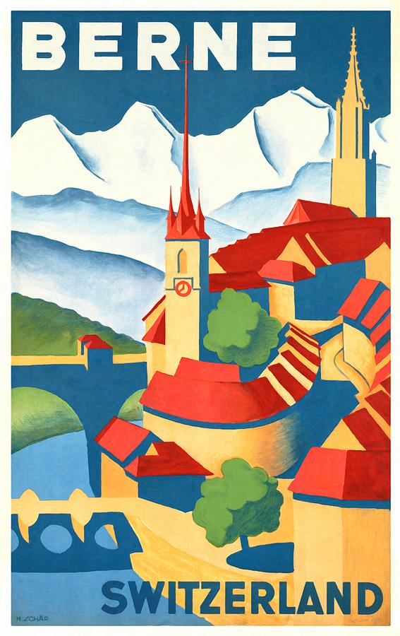 Vintage Poster Mixed Media - Berne Switzerland - Restored by Vintage Advertising Posters