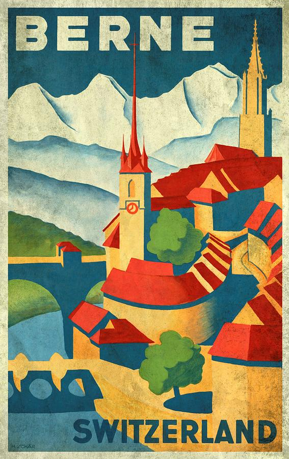 Vintage Poster Mixed Media - Berne Switzerland - Vintagelized by Vintage Advertising Posters