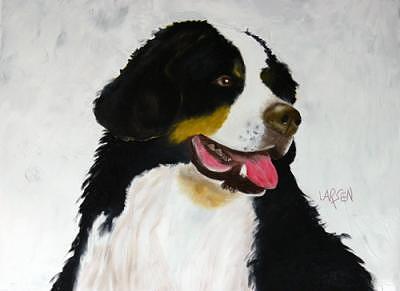 Bernese Mountain Dog Painting by Dick Larsen