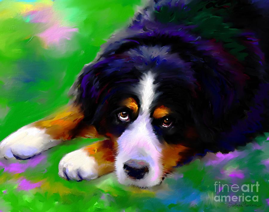 Bernese Mountain Dog Painting - Bernese Mountain Dog Portrait Print by Svetlana Novikova