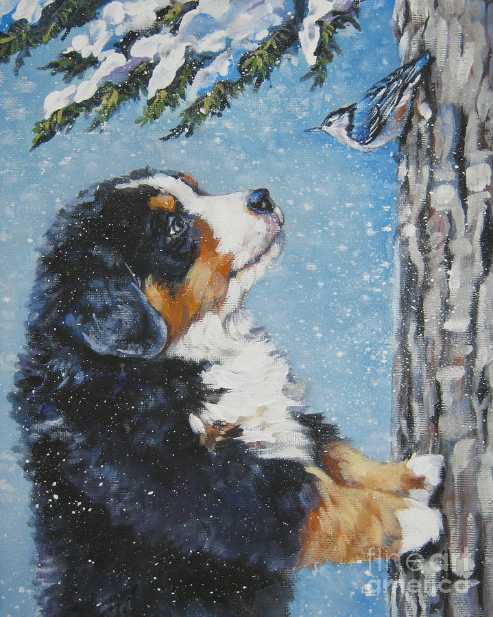 Bernese Mountain Dog Painting - bernese Mountain Dog puppy and nuthatch by Lee Ann Shepard