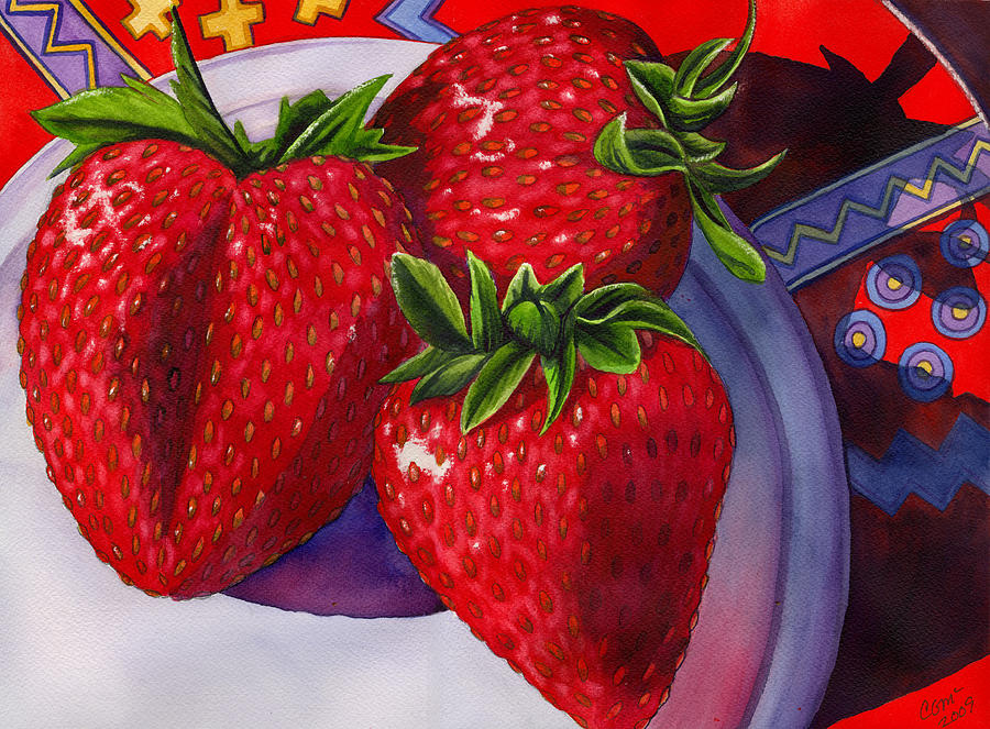 Strawberries Painting - Berry Berry Berry Good by Catherine G McElroy