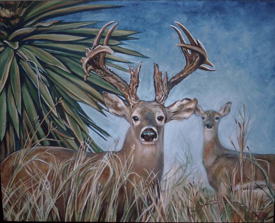 berry buck and doe painting by diann baggett