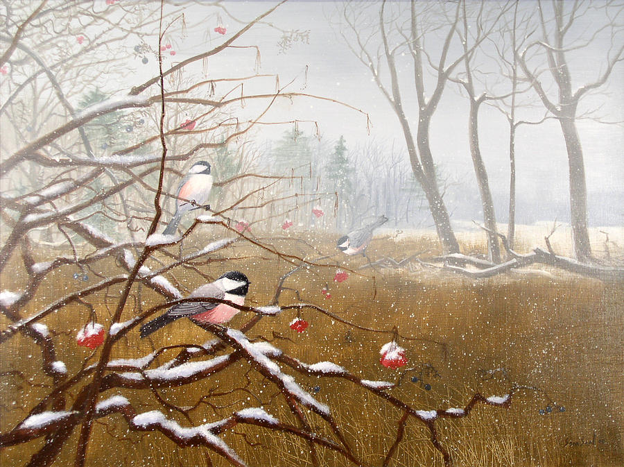 Chickadees Painting - Berry Good Friends by Sean Seal