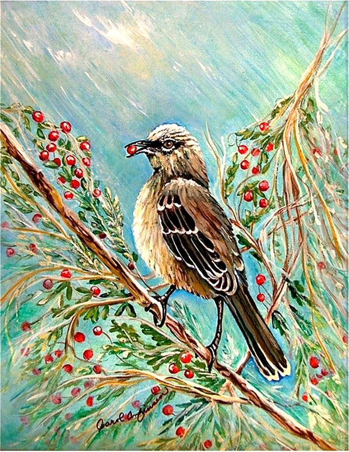 Mocking Bird Painting - Berry Picking Time by Carol Allen Anfinsen