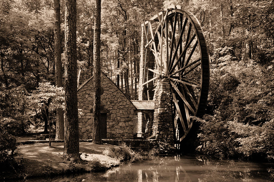 History Photograph - Berrys Old Mill In Sepia by Johann Todesengel