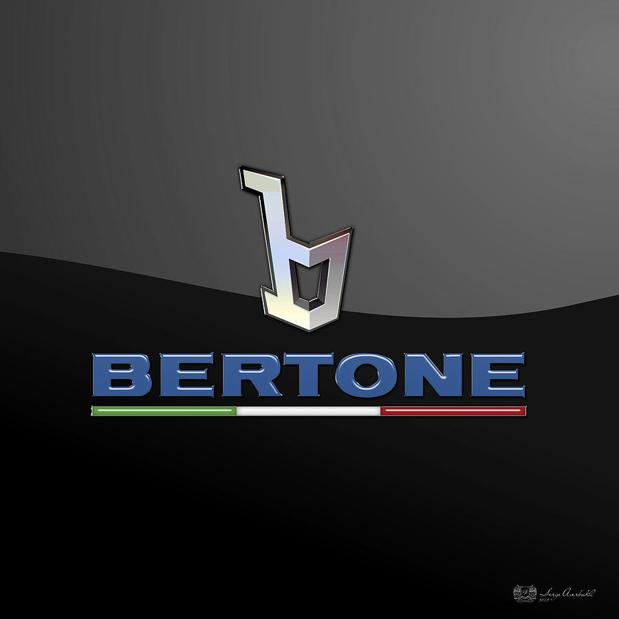 Transportation Photograph - Bertone - 3 D Badge On Black by Serge Averbukh