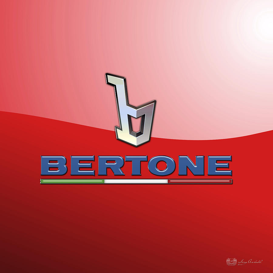 Car Photograph - Bertone 3 D Badge On Red by Serge Averbukh