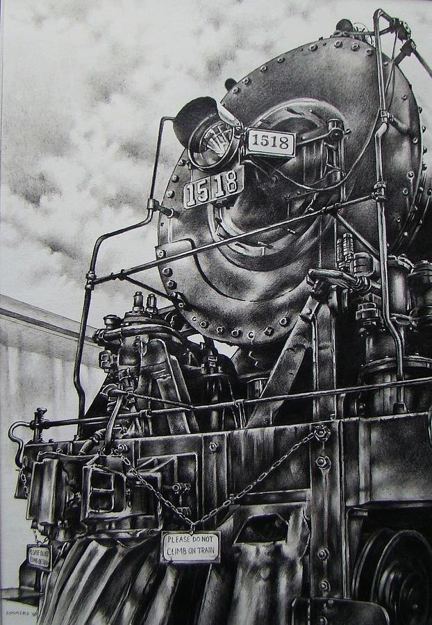 Train Drawing - Beside The Floodwall Mikado 1518 by Michael Lee Summers