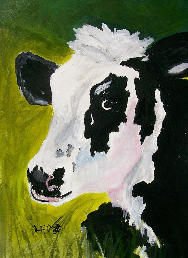 Cows Painting - Bessy The Cow by Leo Gordon
