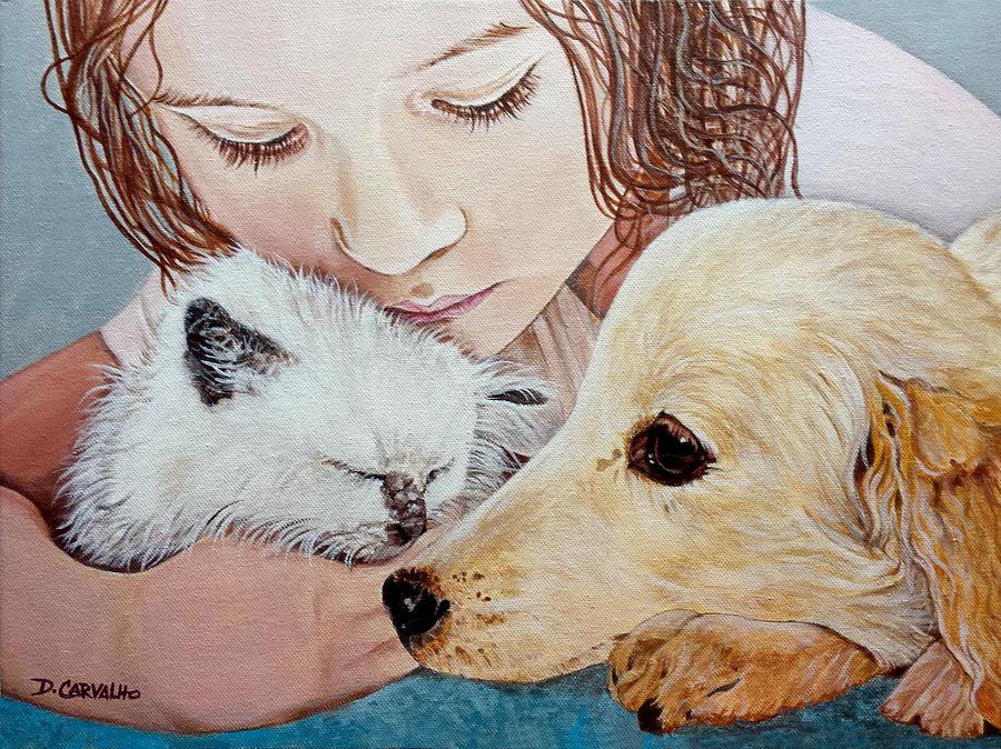 Pets Painting - Best Friends by Daniel Carvalho
