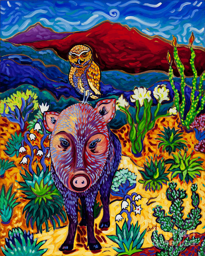 Javelina Painting - Best Friends Forever by Cathy Carey