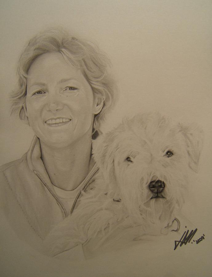 Black And White Drawing - Best Friends by Jenny Oz