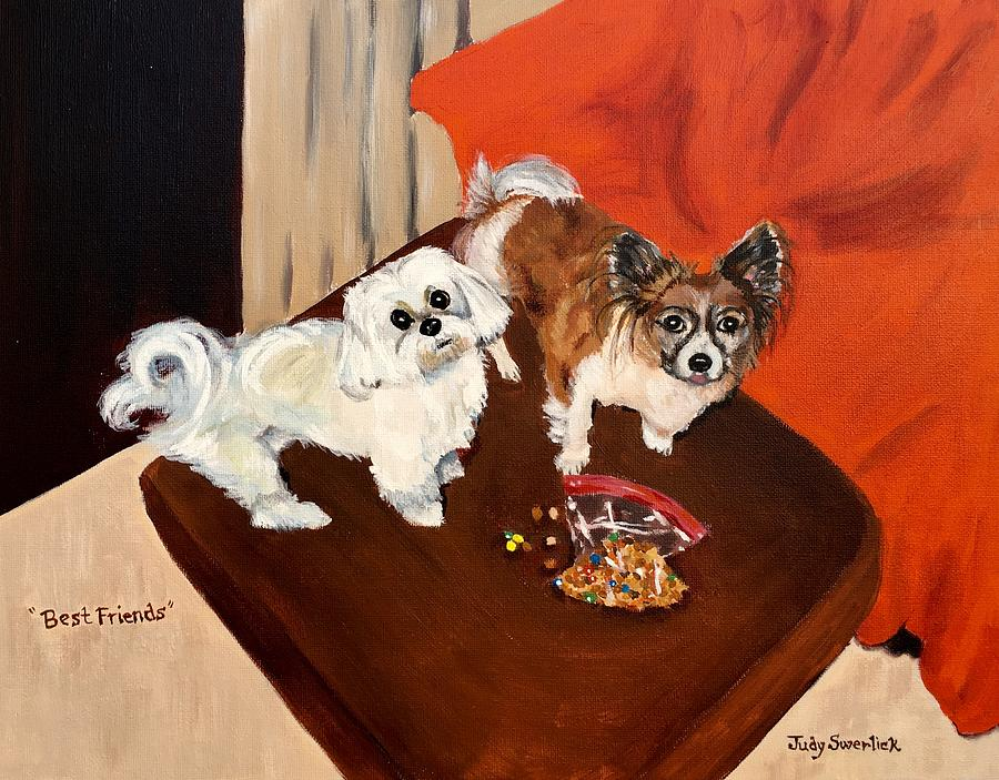 Dogs Painting - Best Friends by Judy Swerlick