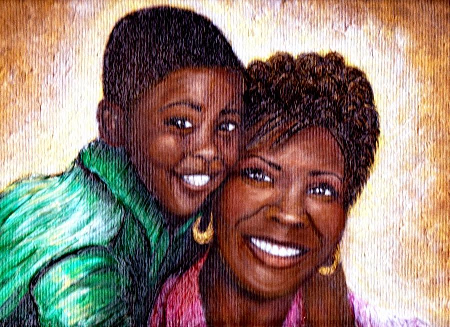 Portrait Painting - Best Friends  by Keenya  Woods