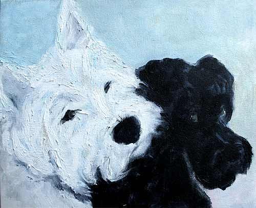 Westie Painting - Best Friends by Nina Otulakowski