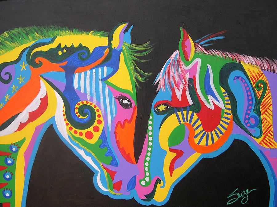 Horse Painting - Best Friends by Suze Stewart