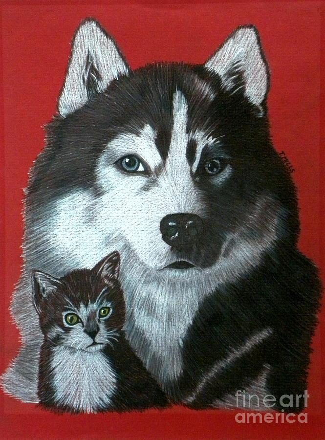 Dog Drawing - Best Friends by Terri Mills