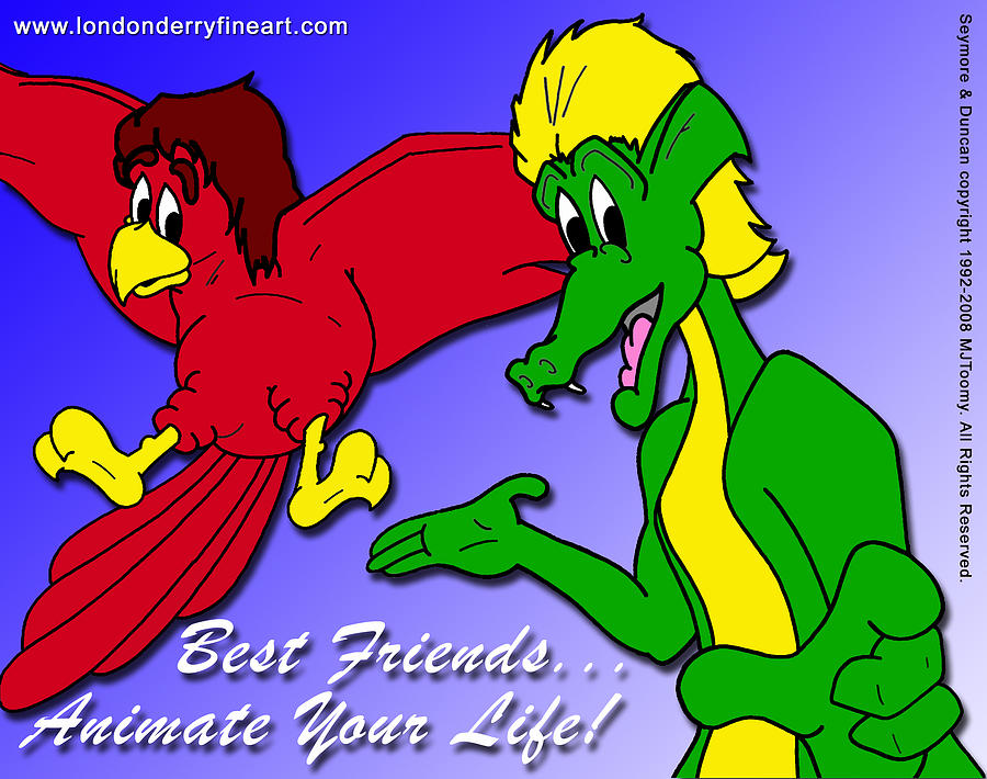 Cartoon Characters Painting - Best Friends...animate Your Life by Michael James  Toomy