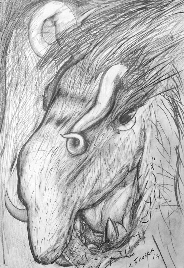 Drawing Drawing - Bestia De Cuerno Espiralado. by Claudio Frasca
