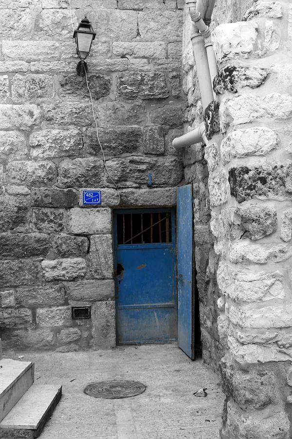 Door Photograph - Bethlehem - Blue Old Door by Munir Alawi