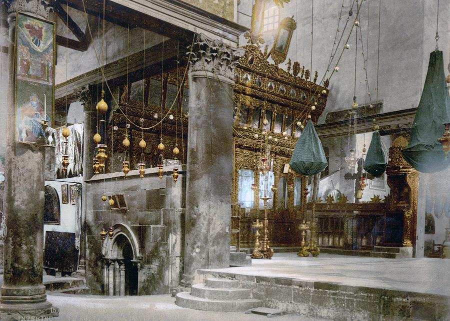 Nativity Photograph - Bethlehem - Inside Nativity Church 1890 by Munir Alawi