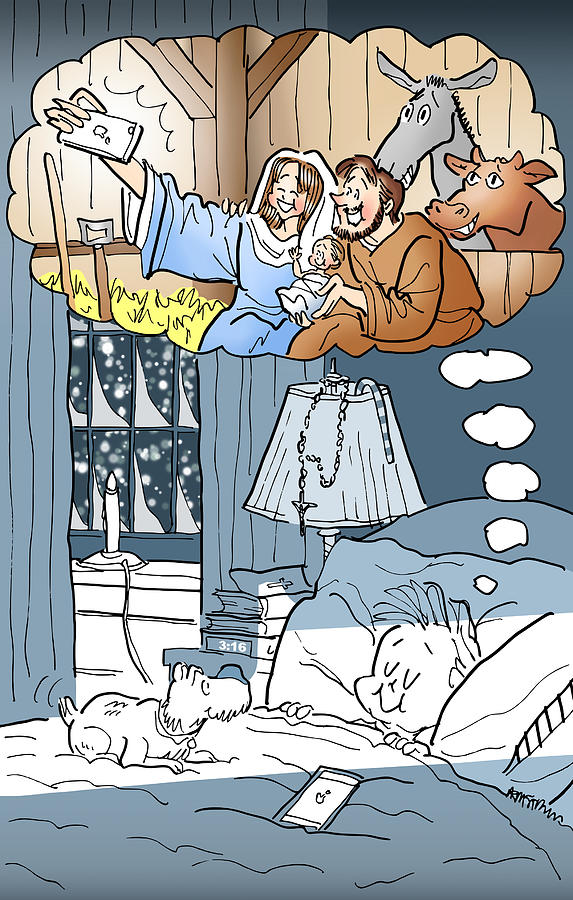 Christmas Digital Art - Nativity Selfie by Mark Armstrong