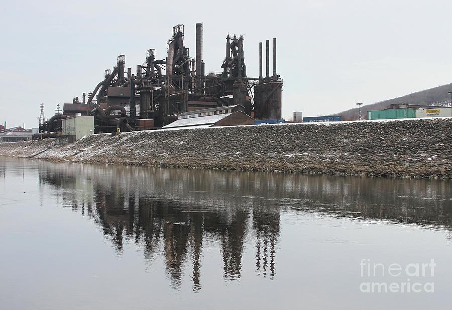 Bethlehem Steelstacks In The Lehigh by Ken Keener