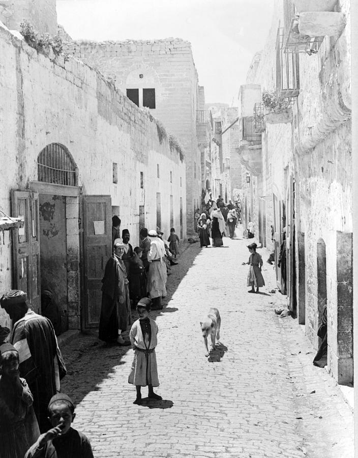 Bethlehem Photograph - Bethlehem The Main Street 1800s by Munir Alawi
