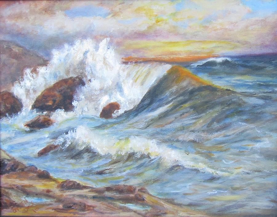 Sea Painting - Beths Sea by Caroline Owen-Doar