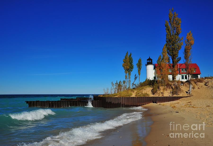 Betsie Point Lighthouse On Lake Michigan Photograph