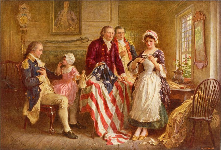 Betsy Ross Painting - Betsy Ross 1777 by Jean Leon Gerome Ferris