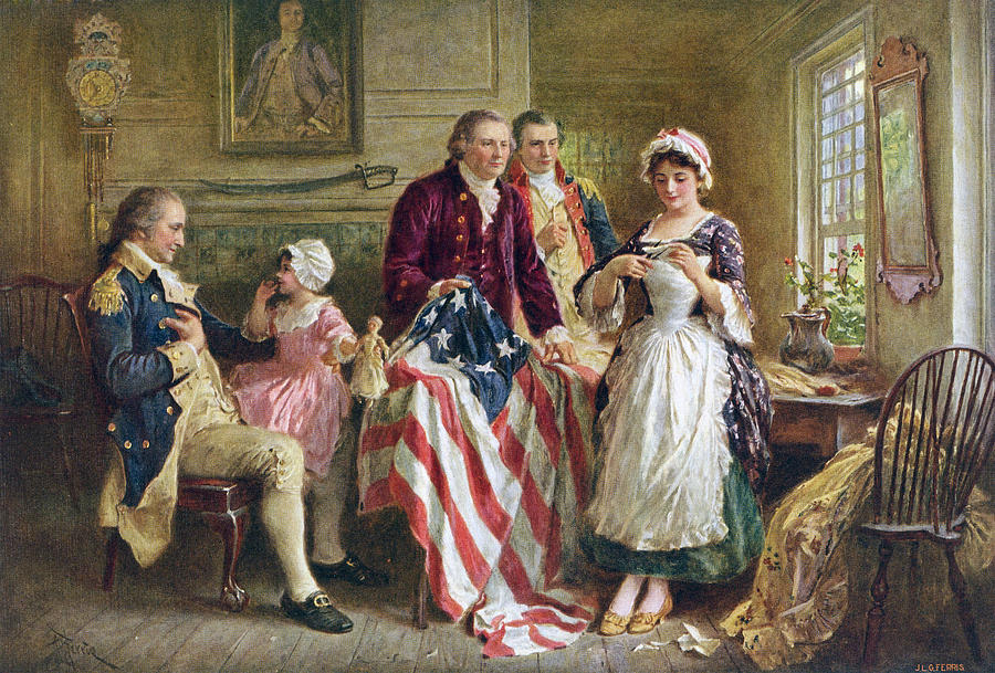 Betsy Painting - Betsy Ross And General George Washington by Jean Leon Gerome Ferris