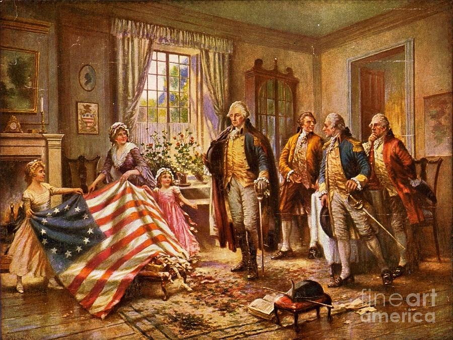 Pd Painting - Betsy Ross Showing Flag To George Washington. by Pg Reproductions