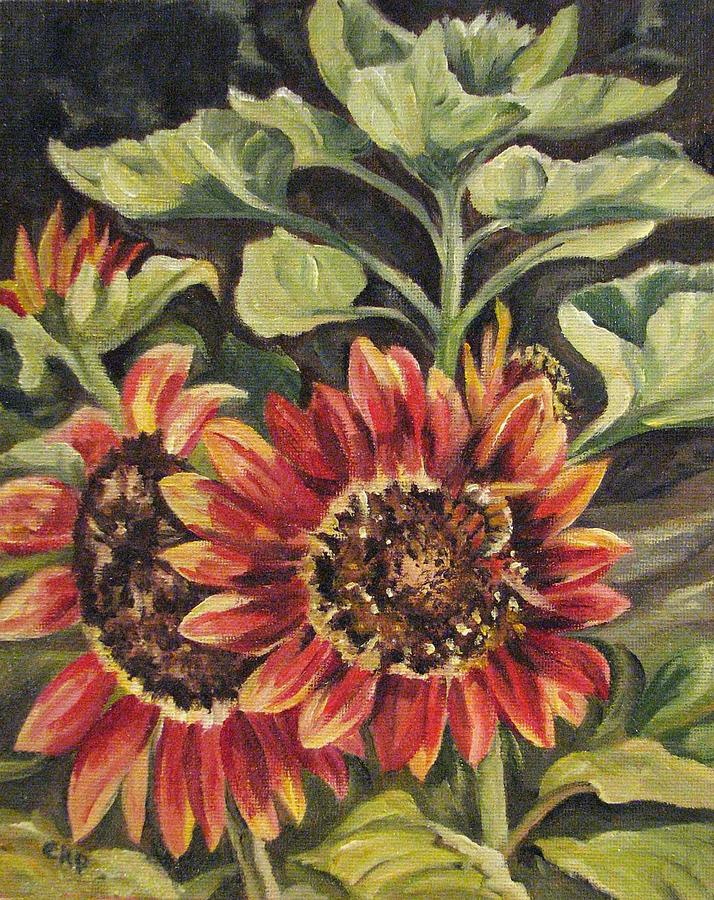 Floral Painting - Betsys Sunflowers by Cheryl Pass