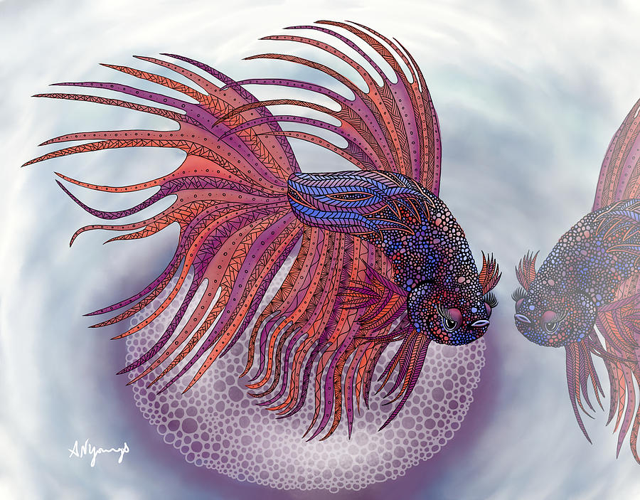 Betta Fish Painting - Betta Fish by Aimee N Youngs