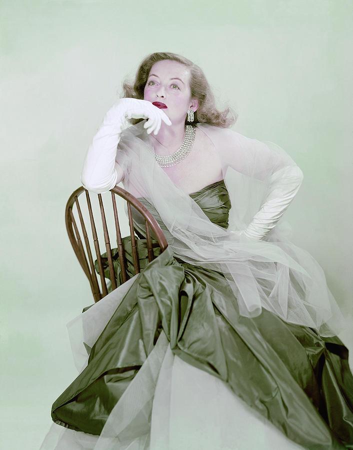 Bette Davis In Green Photograph by Erwin Blumenfeld