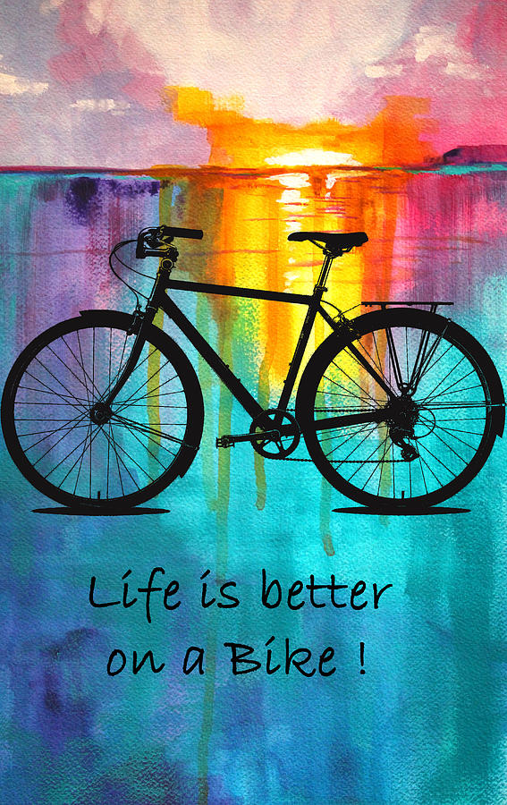 Bicycle Silhouette Mixed Media - Better On A Bike by Nancy Merkle