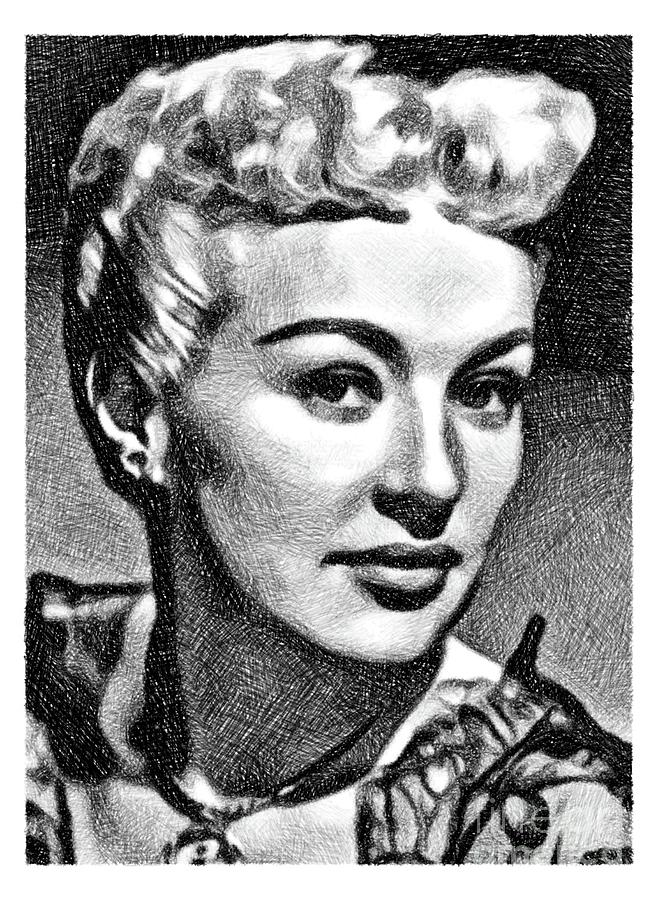 Betty Grable, Vintage Actress And Pinup By Js Drawing