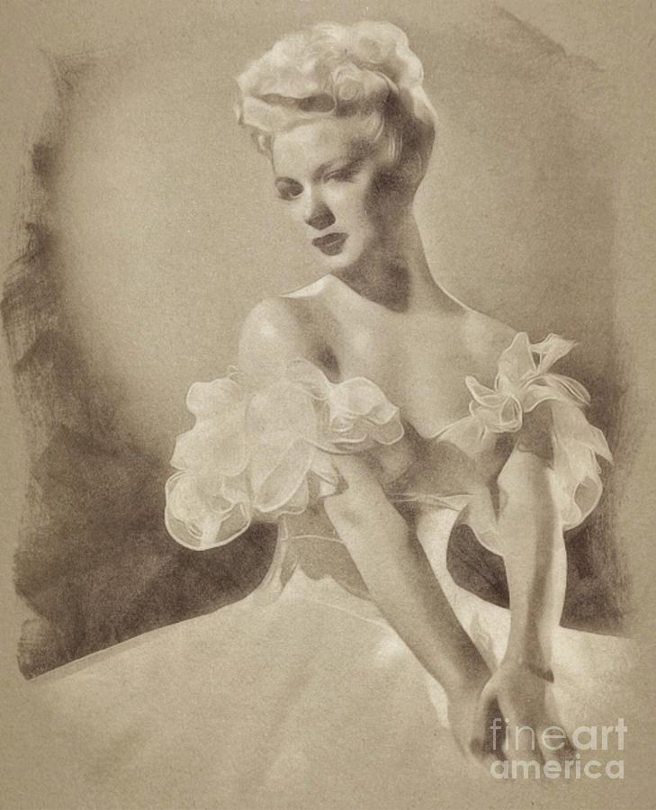 Betty Hutton, Vintage Actress By John Springfield Drawing