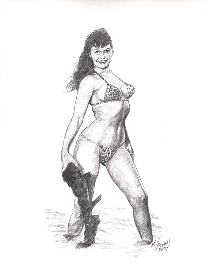 Betty Page Drawing - Betty Jungle Girl by Will Brown