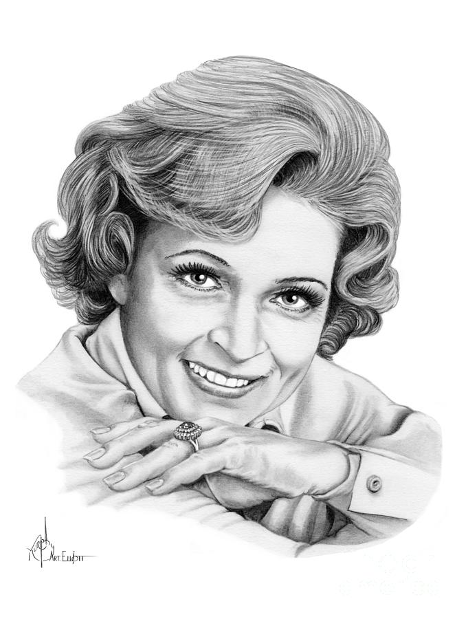 Drawing Drawing - Betty White by Murphy Elliott