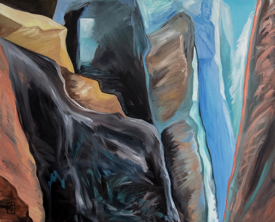 between a rock and a hard place painting by kadira jennings